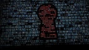 Säkerhetsbegrepp: förhäxa koden och den binära koden i nyckelhålet CyberSecurity stock video