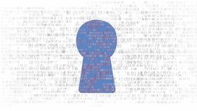 Säkerhetsbegrepp: förhäxa koden och den binära koden i nyckelhålet CyberSecurity lager videofilmer