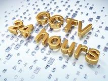 Säkerhetsbegrepp: Guld- CCTV 24 timmar på digitalt Royaltyfri Fotografi