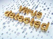 Säkerhetsbegrepp: Guld- virus som avkänns på digitalt Arkivfoton