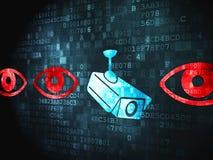Säkerhetsbegrepp: Kamera och öga på digital bakgrund Fotografering för Bildbyråer