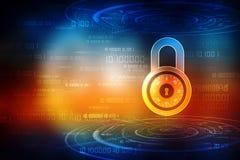 Säkerhetsbegrepp: Låsa på den digitala skärmen, bakgrund för cybersäkerhetsbegrepp 3d framför stock illustrationer