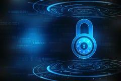 Säkerhetsbegrepp: Låsa på den digitala skärmen, bakgrund för cybersäkerhetsbegrepp 3d framför royaltyfri illustrationer