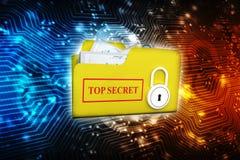 Säkerhetsbegrepp, mapp med låset 3d framför Arkivbilder