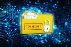 Säkerhetsbegrepp, mapp med låset 3d framför Arkivfoton