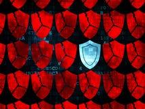 Säkerhetsbegrepp: sköldsymbol på Digital bakgrund Royaltyfri Foto