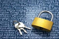 Säkerhetsbegrepp: Skydd av personlig information Arkivbild