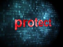 Säkerhetsbegrepp: skydda på digital bakgrund Fotografering för Bildbyråer
