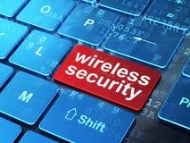 Säkerhetsbegrepp: Trådlös säkerhet på bakgrund för datortangentbord Royaltyfri Fotografi