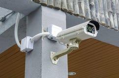 SäkerhetsCCTV-kamera och stads- video Royaltyfri Foto