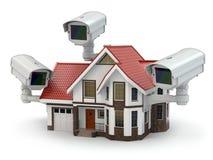 SäkerhetsCCTV-kamera på huset. Royaltyfri Bild