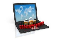 Säkerhetshänglås och bärbar dator Fotografering för Bildbyråer