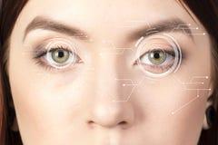 Säkerhetsiris eller näthinnebildläsare som används på ett mänskligt öga för intensiv makro, med den inskränkta paletten arkivbild