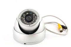 Säkerhetskamera, CCTV på vit Arkivfoton