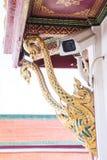 Säkerhetskamera på det thai tempelet i Thailand Fotografering för Bildbyråer