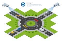Säkerhetskameran avkänner rörelsen av för att trafikera Cctv-säkerhetskamera på isometriskt av trafikstockning med rusningstid Royaltyfri Foto