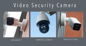 Säkerhetskameror av säkerhet - collage med text arkivfoto