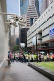 Säkerhetskameror i centret i Singapore Arkivfoto