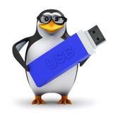 säkerhetskopior för pingvin 3d som hans data på ett USB minne klibbar Royaltyfria Foton