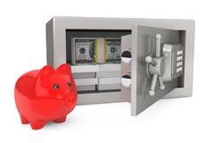 Säkerhetsmetallkassaskåp med pengar och spargrisen Royaltyfri Bild