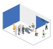 Säkerhetsportar med metalldetektorer i flygplats vektor illustrationer