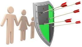 Säkerhetssköldförsäkring skyddar familjrisk Arkivbilder