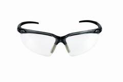 Säkerhetsskyddsglasögon, säkerhetsexponeringsglas som isoleras på vit bakgrund Arkivfoton