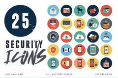 25 säkerhetssymboler stock illustrationer
