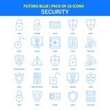 Säkerhetssymboler - packe Futuro blå för 25 symbol vektor illustrationer