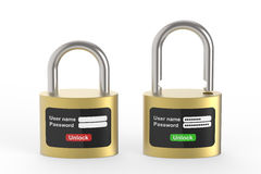 Säkerhetssystem av låset Arkivbild