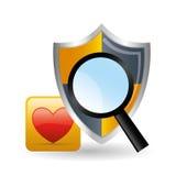 Säkerhetssystemdesign Social massmediasymbol sköldbegrepp Arkivfoto