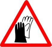 Säkerhetstecken, tecken för anställningstrygghet för kläderhandskeskydd Var säker att bära att varna för handbeskyddandehandskar  Arkivfoton