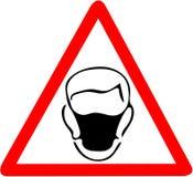 Säkerhetstecken, tecken för anställningstrygghet för maskering för kläderdammskydd Var säker att använda varning för dammnäsmaske Royaltyfri Bild