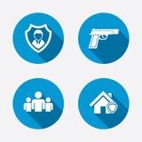 Säkerhetstjänstsymboler Hem- sköldskydd Royaltyfri Bild