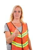 säkerhetsvestkvinna fotografering för bildbyråer