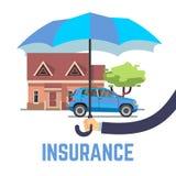 Säkert begrepp för försäkringvektorlägenhet med det hållande paraplyet för hand över hus och bilen Arkivfoto