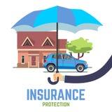 Säkert begrepp för försäkringvektorlägenhet med det hållande paraplyet för hand över hus och bilen Fotografering för Bildbyråer
