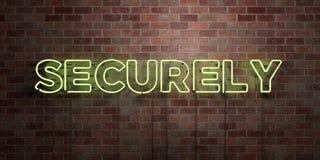 SÄKERT - fluorescerande tecken för neonrör på murverk - främre sikt - 3D framförde den fria materielbilden för royalty stock illustrationer