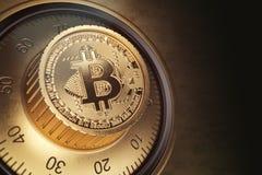 Säkert lås med symbol av bitcoin Bitcoin cryptocurrencysecurit Royaltyfria Bilder