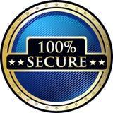 Säkra hundra procent symbol Arkivfoton
