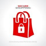Säkra shoppingsymbolet Royaltyfri Fotografi