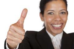 säkra självshows för affär som ler tumkvinnan Fotografering för Bildbyråer