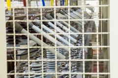 Säkringssammanlänkningar av kondensatorbanker royaltyfria bilder