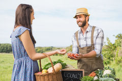 Sälja för bonde hans organiska jordbruksprodukter Arkivbilder