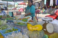 Sälja nya frukt och grönsaker i Thailand Arkivfoto