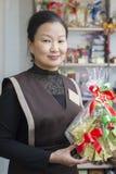 Säljaren på teet shoppar försäljningste Royaltyfri Fotografi