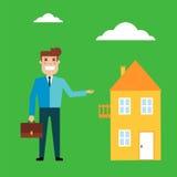 Säljaren rymmer portföljen och erbjuder att köpa eller hyra hus Royaltyfri Bild