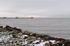 Sällsynt kust- snö Royaltyfria Bilder
