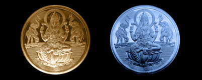 Sällsyntt försilvra, och guld- myntar Fotografering för Bildbyråer
