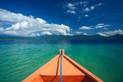 Sänd den främre sikten för näsan i Gili Trawangan, norr Lombok, Indonesien, Asien Royaltyfria Bilder